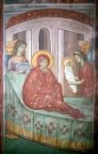 018. Рождество Пресвятой Богородицы. Фреска XIV в. Монастырь Грачаница, Косово.