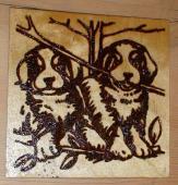 Собачки (выжигание по дереву Кирилла Лыскова)